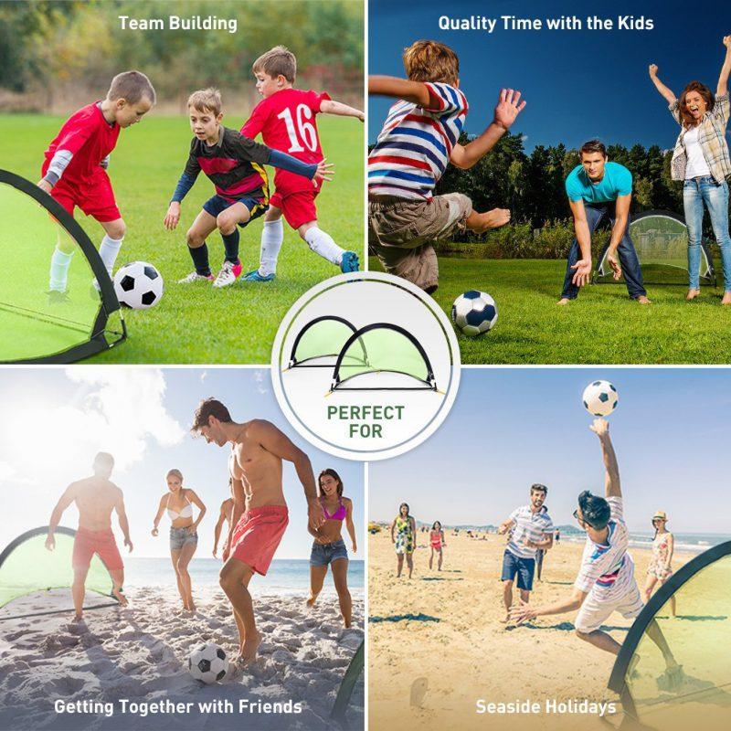 b4208de5f iSiLER Pop Up Soccer Goal, Portable Soccer Nets Size 4', Two Foldable  Soccer Nets with Carry Bag, Kids Soccer Goal 1.3lb Ultra-light Weight
