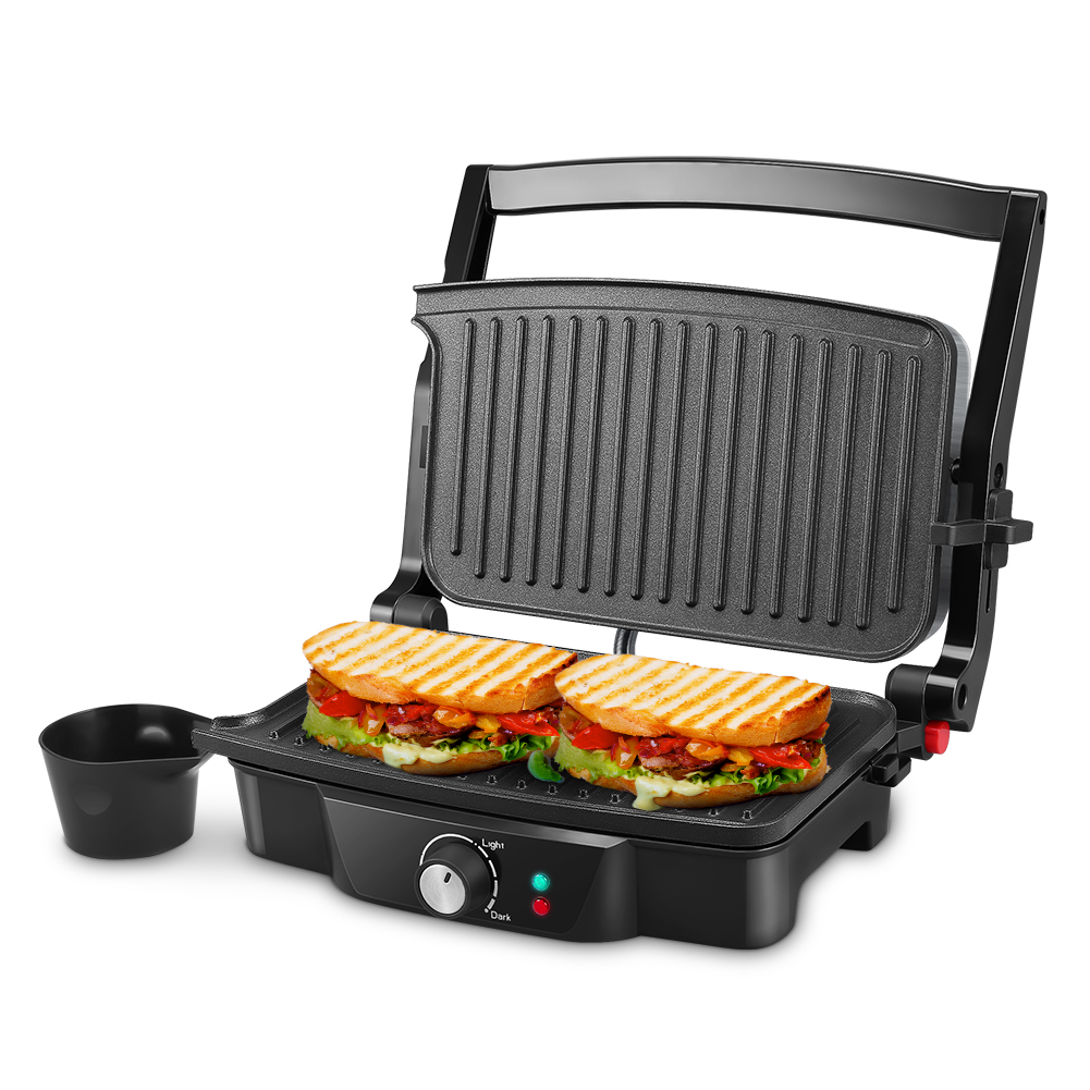 Panini Maker Isiler 4 Slice Panini Press Grill Sandwich Maker With 2 Removable Drip Tray Non Stick Coated Plates Opens 180 Degrees For Panini Grilled Burgers Steaks Bacon Isiler